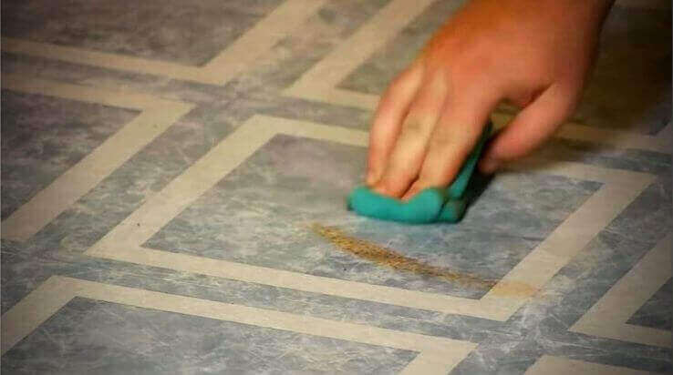 how to remove yellow stains from linoleum